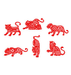 Zodiac tiger animal icons chinese signs vector