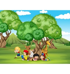 Animals and children in the field vector image