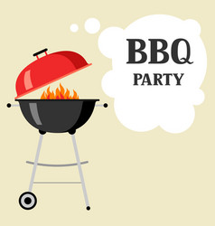 bbq party background with grill and fire vector image vector image