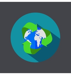 flat recycle earth icon on gray background vector image