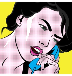 Girl with phone POP ART vector image