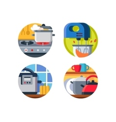 Kitchenware icon stove and kettle vector image vector image