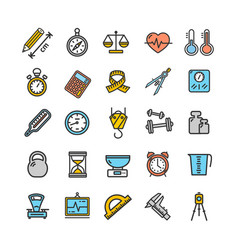 measurement signs color thin line icon set vector image vector image