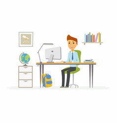 online education - of boy student at vector image vector image