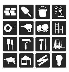 Black Construction and Building Icon Set vector image vector image