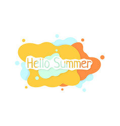 colored hello summer abstract logo on white vector image
