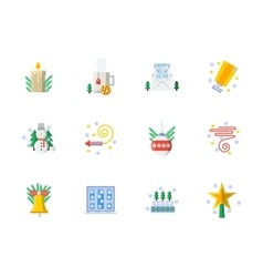 Flat color Christmas icons set vector image vector image