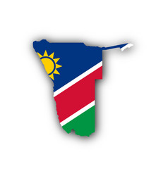 map and flag of namibia vector image vector image