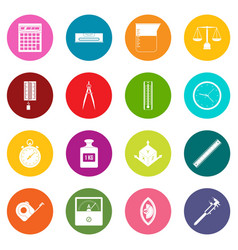 measure precision icons many colors set vector image
