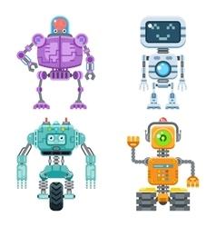 Robot flat icons set vector image