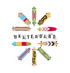 set skateboard collection vector image