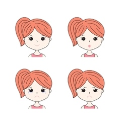 Beautiful woman showing various facial expressions vector image vector image