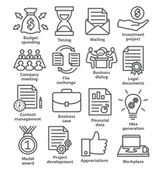 Business project planning icons in line style vector image vector image