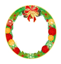 Button circular Christmas Spruce and poinsettia vector image vector image