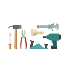 Carpentry tools Screwdriver and drill Hammer and vector image
