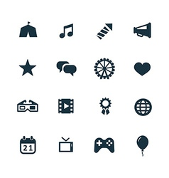 entertainment icons set vector image vector image