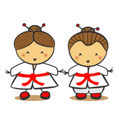 japanese children in traditional costume kimono vector image
