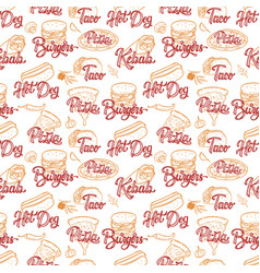 street food seamless pattern kebab taco burger vector image