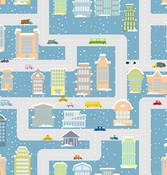 Winter city seamless pattern Metropolis with vector image