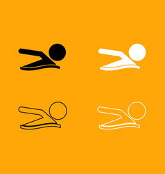 a man swims black and white set icon vector image vector image
