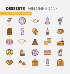 desserts and sweets food linear thin icons set vector image