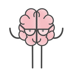icon adorable kawaii brain with glasses vector image vector image