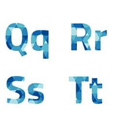 Modern Style Blue Alphabets Set vector image vector image