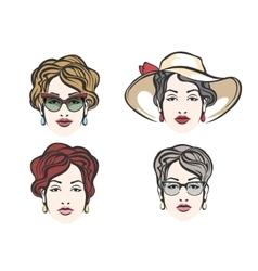 Woman Face Fashion Set vector image vector image
