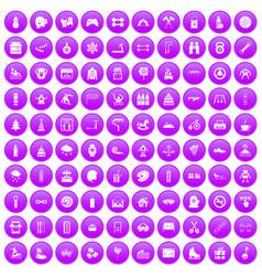 100 children activities icons set purple vector image