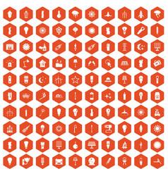 100 light source icons hexagon orange vector