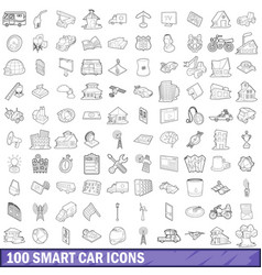 100 smart car icons set outline style vector