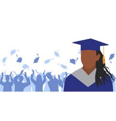 African american girl graduate in mantle vector