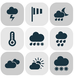 Air icons set with hail sunset temperature and vector