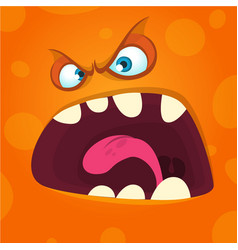 Angry cartoon monster face vector