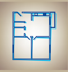 Apartment house floor plans sky blue icon vector