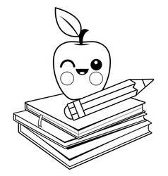 apple books and pencil coloring page vector image