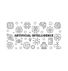 artificial intelligence horizontal outline vector image