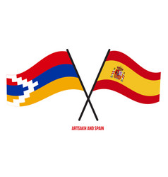 Artsakh and spain flags crossed and waving flat vector