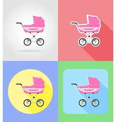 baby flat icons 05 vector image