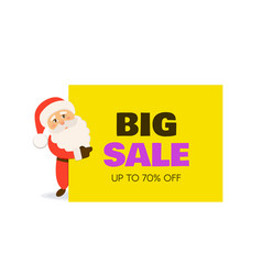 big sale banner santa claus with signboard vector image