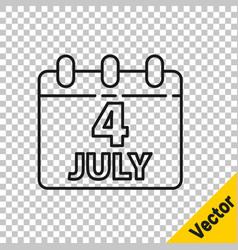 black line day calendar with date july 4 icon vector image