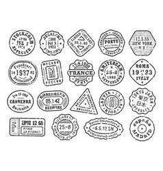 black retro stamps with scabies cities stamp set vector image