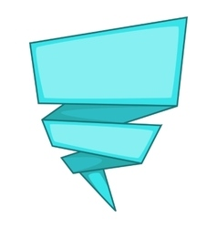 Blue origami speech bubble icon cartoon style vector image