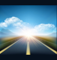 Blurred road and blue motion blurred sky vector