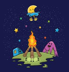 Bonfire camping outdoor vector