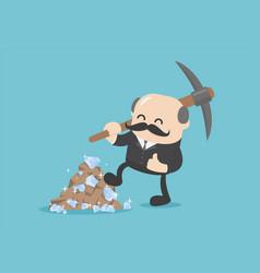 Boss businessman dig a lot diamonds and mining vector