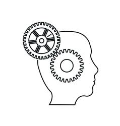 brain gears head silhouette idea icon vector image