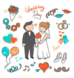 Bride and groom wedding elements doodle vector