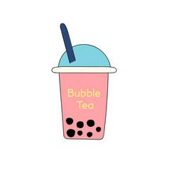bubble or pearl milk tea or boba flat color icon vector image