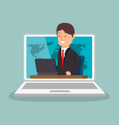 Businessman working with laptop vector